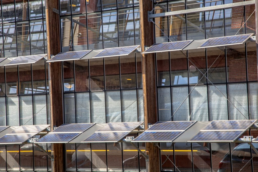 Solar Panels on the Front of an Office Building as a Solution fo